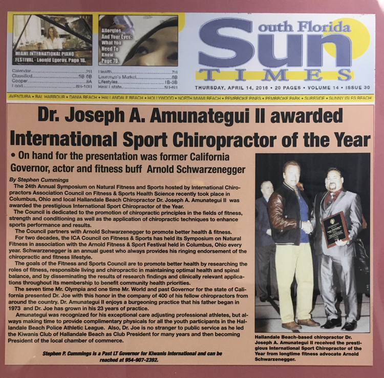 South Florida Sun Times - International Sport Chiropractor of The Year, 2016